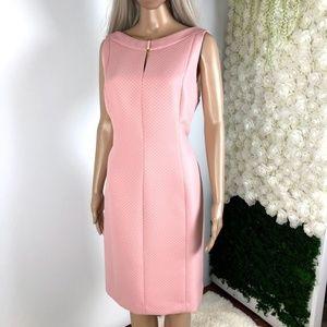 🆕TAHARI Blush Pink textured Dress Keyhole Size 14